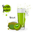 kiwi juice fresh hand drawn watercolor fruits and vector image