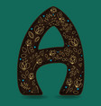 letter a with golden floral decor vector image vector image