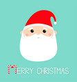 merry christmas santa claus face head round icon vector image