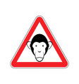monkey warning sign red primacy of hazard vector image vector image