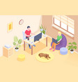 online work couple freelance home office isometric vector image