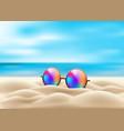 realistic eyeglasses retro circle on beach vector image