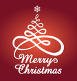 Red Christmas card with tree vector image vector image