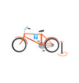retro bike and pump old unnecessary things vector image