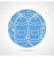 Round blue icon for aqualung vector image