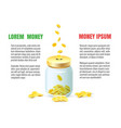 save dollar coins in jar concept vector image