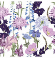 seamless patterns with dahlia delphinium vector image vector image