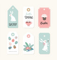 set cute easter gift tags and labels with white vector image