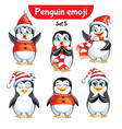 set of christmas penguin characters set 3 vector image vector image