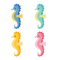 set of cute cartoon colorful sea horse isolated vector image