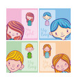 set of kids cartoons vector image vector image