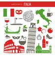 set of rome italy symbols italian vector image vector image