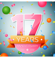 Seventeen years anniversary celebration background vector image vector image