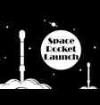 space rocket launch black and white typography t vector image