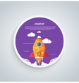 Start up rocket on round banner vector image vector image