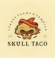 sugar skull taco mexican logo mascot vector image vector image