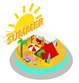 summer day concept banner isometric style vector image