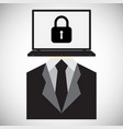 technology digital cyber security lock laptop vector image vector image