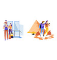 travelers couple and family traveling vacation vector image