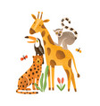 tropical animals flat exotic vector image