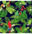 tropical birds and plants pattern vector image vector image