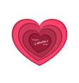 valentines day concept paper art with red heart vector image