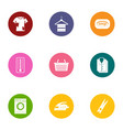 wash wear icons set flat style vector image vector image