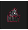 wolf mascot for sport team logo design vector image