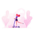 young stylish woman character riding scooter on vector image vector image