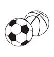Monochrome Set Ball for Football and Basketball vector image