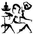 silhouettes of yoga positions vector image