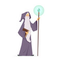 wizard with magic book and wand - cartoon people vector image