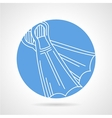 Round blue icon for flippers vector image