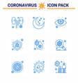 9 blue viral virus corona icon pack vector image vector image
