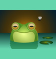 a happy frog character smiling inside of a swamp vector image
