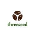 a three seed logo a logo for a cafe company vector image