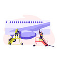 airport employee servicing plane man in uniform vector image vector image