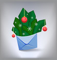 an envelope with fir branches vector image vector image
