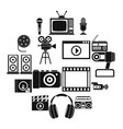 audio and video icons set simple style vector image vector image