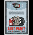 auto parts shop and tire store vintage poster vector image vector image