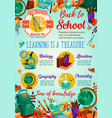 back to school sale banner with student supplies vector image
