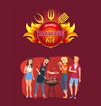 barbecue party emblem and friends around grill vector image