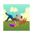 boy man reading book woman in glasses reading vector image vector image