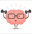 brain training with dumbbells and glasses vector image