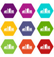 chemical plant icons set 9 vector image vector image