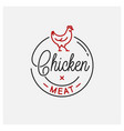 chicken meat logo round linear emblem vector image vector image
