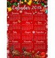 christmas and new year holidays calendar template vector image vector image