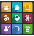 Coffee Flat Icons Set 43 vector image
