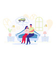 couple sitting on sofa watching car for purchase vector image vector image