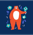 cute bear holding flower flat vector image